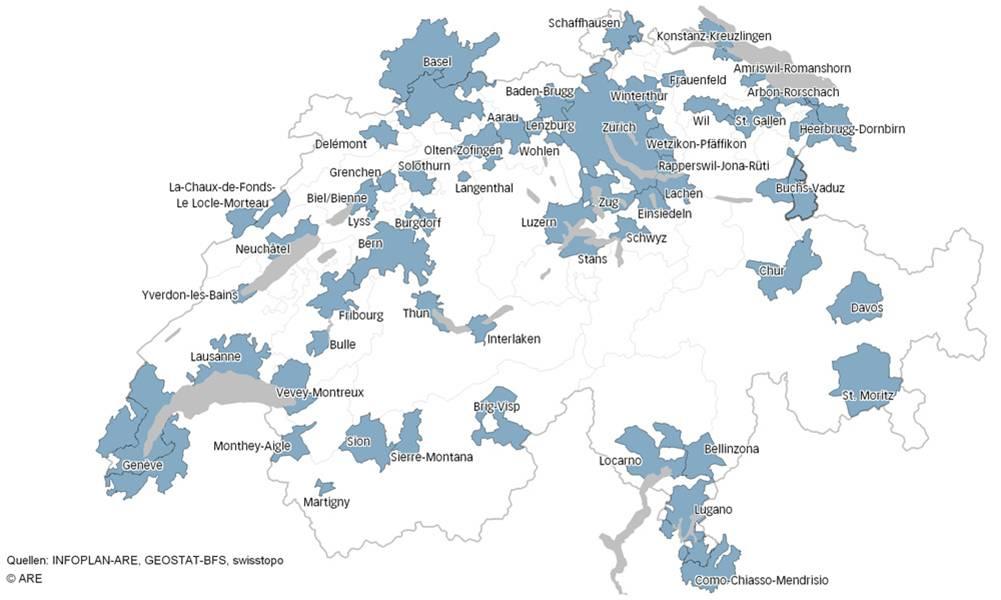 Carte des agglomérations en Suisse